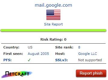 Netcraft es una herramienta muy potente antipishing