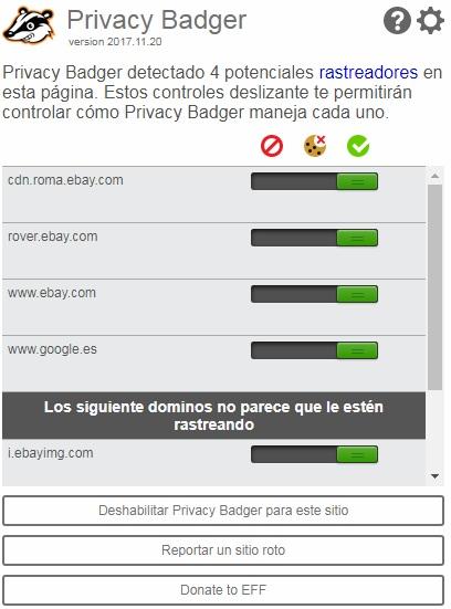 Pryvacy Badger es una buena herramienta para el navegador de Google